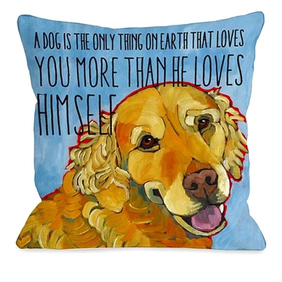 Golden retriever accent pillows with text